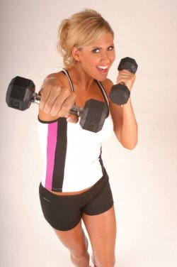 Marzia Jabbing With Dumbbells