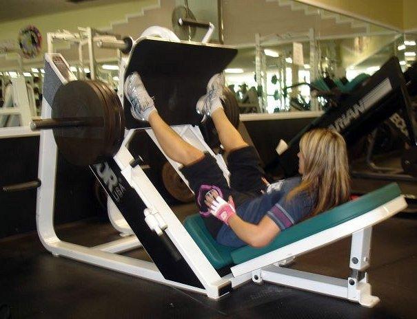 Kara doing Leg press