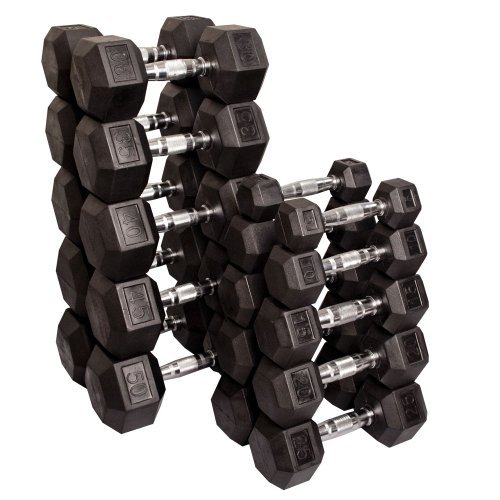 Rubber Dumbbell Set: CAP 550 Rubber Hex Dumbbell Set SDRS-550