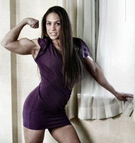 Christy Bicep Pose Purple Dress